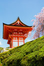 Kiyomizu dera temple in kyoto japan the door of and cherry blossom Royalty Free Stock Image