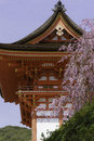 Kiyomizu temple and cherry blossom in kyoto gateway of with sakura japan the picture was taken during sakura spring located Royalty Free Stock Photography
