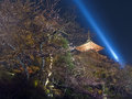 Kiyomizu temple in kyoto japan night time view of pagoda tower of Royalty Free Stock Photography