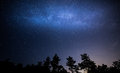 Kiyv sea star milkyway trailsnafter driving about kilometers from kiev i got on a wonderful view around only forest and Stock Images