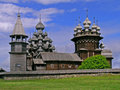 Kizhi pogost the is the area inside a fence which includes two large wooden churches the dome transfiguration church and the dome Royalty Free Stock Photo