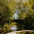 Klarabergskanalen sweden stockholm boat summer trees green bridge Royalty Free Stock Photography