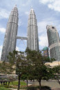 Klcc and park kuala lumpur malaisya january twin towers of Royalty Free Stock Image