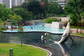 Klcc park in kuala lumpur malaysia jun pool is a public pool located near petronal twin towers on jun hectares Royalty Free Stock Photography