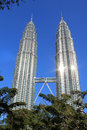 Klcc petronas tower with trees landmarks malaysia and highest building in south east asia Royalty Free Stock Image