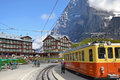 Kleine scheidegg north face august train and hotel at the foot of the eiger at switzerland on august is a Royalty Free Stock Image