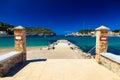 Kleiner pier am strand von port de soller Stockfotografie