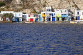 Klima village on milos island colorful houses viewed from blue sea greece Stock Photos