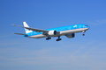 Klm boeing a on final approach to land Royalty Free Stock Image