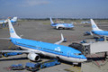 Klm planes at schiphol of royal dutch airlines international airport amsterdam netherlands Stock Image