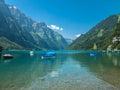 Kloentaler lake in summer view of kloenthalsee glarus switzerland Royalty Free Stock Image