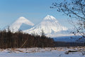 Klyuchevskoy volcano and kamen volcano on kamchatka peninsula the highest active in europe asia russia far east Royalty Free Stock Photo