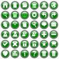 knappar 1 green rund rengöringsduk Arkivbilder