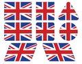 Knappar med den union jack flaggan Royaltyfria Bilder