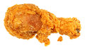 Knapperig fried chicken leg over white Royalty-vrije Stock Foto's