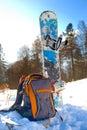 Knapsack near the snowboard Royalty Free Stock Photo