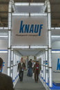Knauf germany company booth visitors visit during rd international forum of building materials and technologies interbudexpo at Royalty Free Stock Photography