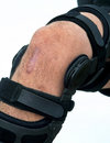 Knee brace for acl football injury Royalty Free Stock Photography