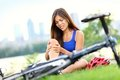 Knee pain bike injury woman Royalty Free Stock Images