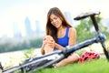 Knee pain bike injury woman Royalty Free Stock Images