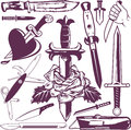 Knife and dagger collection clip art of knives daggers Royalty Free Stock Photo