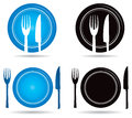 Knife fork logo a amnd plate set Royalty Free Stock Image