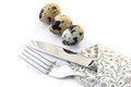 Knife and fork in a napkin with quail eggs. Royalty Free Stock Image