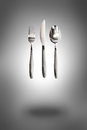 Knife fork and spoon on background Stock Photography