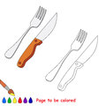 Knife and fork vector cartoon to be colored. Royalty Free Stock Photo
