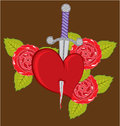 Knife in a heart with Roses Royalty Free Stock Photo