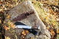 Knife hunting on a large rock Royalty Free Stock Photo
