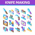 Knife Making Utensil Isometric Icons Set Vector
