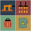 Knife switch flat icons electrical circuit breaker contact Royalty Free Stock Photography
