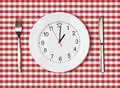 Knife white plate with clock face and fork on red picnic table cloth Royalty Free Stock Images