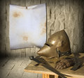 Knight armor and advertisement blank canvas for your Stock Image
