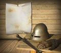 Knight armor and advertisement blank canvas for your Stock Images