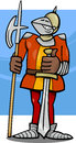 Knight in armor cartoon illustration of funny with sword and halberd Royalty Free Stock Photo