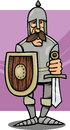 Knight in armor cartoon illustration of funny with sword and shield Royalty Free Stock Photo