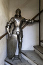 Knight armour medieval with shield in the old town of prague Royalty Free Stock Images