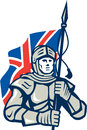 Knight british flag retro illustration of in full armor with union jack facing front done in style on isolated white background Royalty Free Stock Images