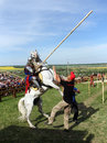 Knight on bucking horse khotyn may with lance riding a during festival medieval khotyn may ukraine Royalty Free Stock Image