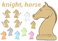 Knight chessman clipart a set with multi colored Stock Photography