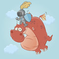Knight and dragon funny illustration of Stock Photography