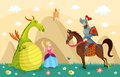 Knight and dragon illustration of a fairytales story with beautiful princess Royalty Free Stock Photography