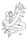 Knight and dragon outlined Royalty Free Stock Images