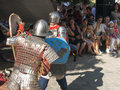 Knight fight at sighisoara medieval festival Royalty Free Stock Photography