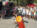 Knight fight at sighisoara medieval festival Royalty Free Stock Photos