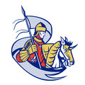 Knight with flag shield horse retro illustration of in full armor banner and riding steed done in woodcut style Royalty Free Stock Photo