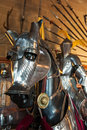 Knight and horse armor closeup of an armored warwick castle warwickshire england Stock Photo