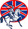 Knight horse lance British Flag Stock Image